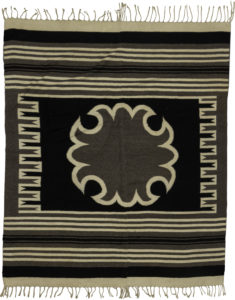 Mexican Flatweave 5X8 Black Ivory Wool Area Rug