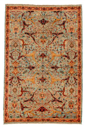 Afghan Nooristan 4X6 Blue Red Wool Area Rug