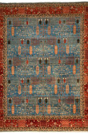 Afghan 9X12 Blue Red Wool Area Rug