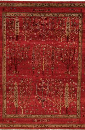 India Zamin 8X10 Red Wool Area Rug