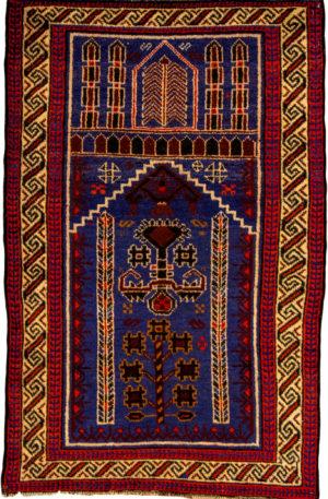 Afghan 3X5 Blue Ivory Wool Area Rug