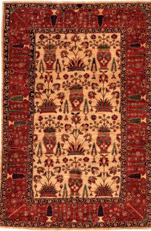 Afghan Moughal Design 6X9 Ivory Wool Area Rug
