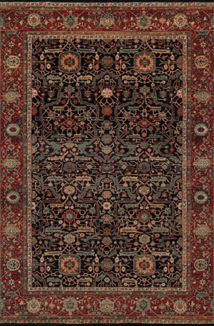 Classics Collection 5X8 Blue Traditional Area Rug