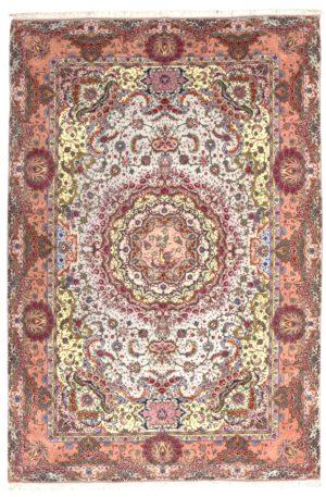 Persian Tabriz 6X9 Blue Pink Wool Area Rug