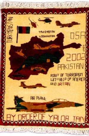 Afghan War Rug 2X3 Ivory Wool Area Rug