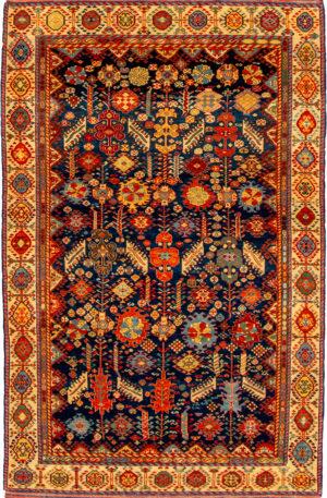 Turkish Qashqai 5X8 Blue Wool Area Rug