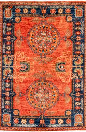 Pakistani Khotan 5x8 Red Tribal Area Rug