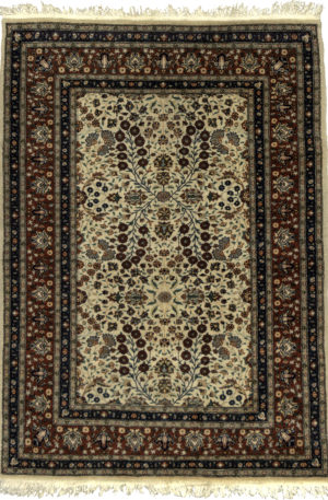 Persian Kashan 4X6 Ivory Red Wool Area Rug