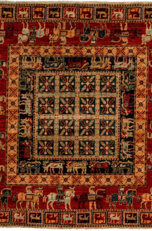 Afghan Aryana 5'x5' Square Red Wool Area Rug