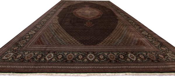 Persian Tabriz Oversize Black Black Wool Area Rug