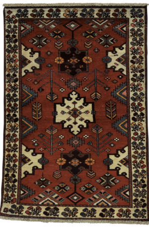 Persian Bakhtiari 4X6 Red Ivory Wool Area Rug