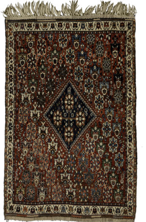 Antique Persian Qashqai 3X5 Red Wool Area Rug