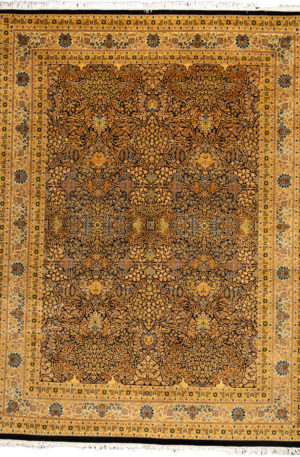 Pakistan Kerman 9X12 Ivory Wool Area Rug