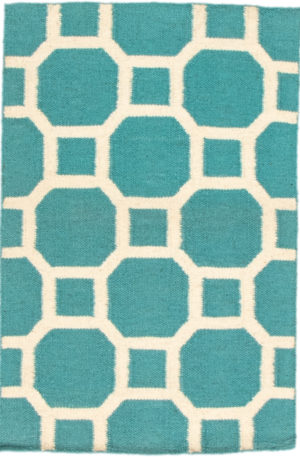Contemporary 2X3 Blue Wool Area Rug