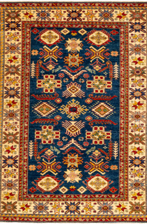 Pakistan Kazak 5X8 Blue Ivory Wool Area Rug