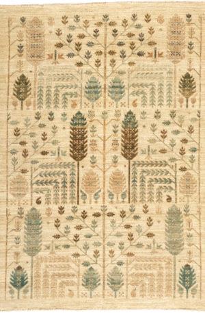 Afghan Aryana 5X8 Ivory Wool Area Rug