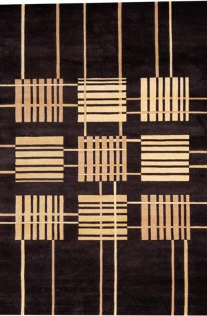 Contemporary 8X10 Black Wool Area Rug