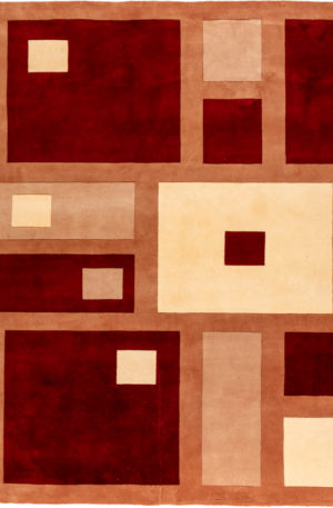 Contemporary 8X10 Red Wool Area Rug