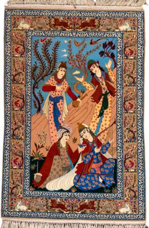 Persian Isfahan 3X5 Pictorial Wool & Silk Area Rug