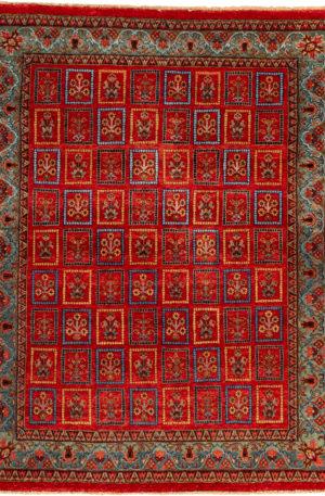 Zamin 5X8 Red Wool Area Rug