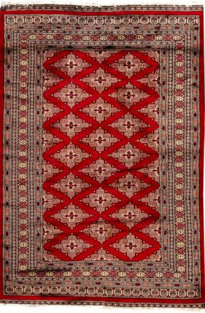 Pakistan Bohkara 4X6 Red Wool Area Rug