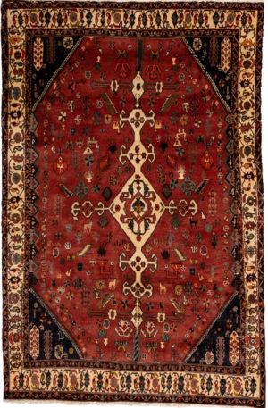 Persian Shiraz 5X8 Red Wool Area Rug