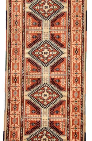 Turkish Geometric Runner Ivory Wool Area Rug