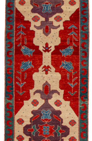 Turkish Tribal Runner Ivory Wool Area Rug