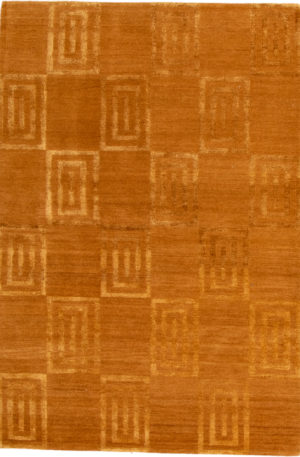 Contemporary Nepal 4X6 Yellow Wool Area Rug