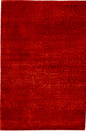 Contemporary Nepal 4X6 Red Wool Area Rug
