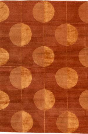 Contemporary Nepal 4X6 Orange Wool Area Rug
