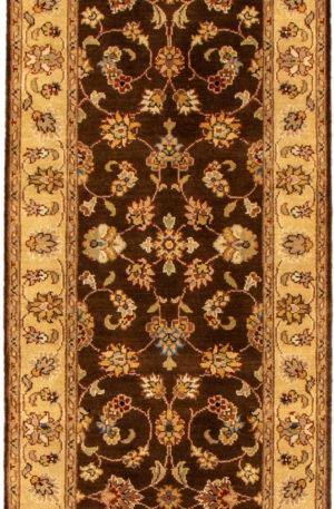 Floral Runner Brown Wool Area Rug