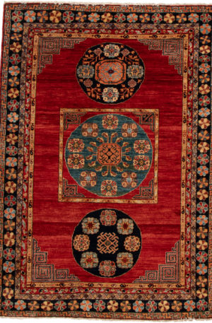 Afghan Faryab 4X6 Red Wool Area Rug