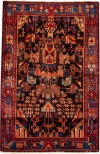 Iran Hamadan 4X6 Black Wool Area Rug
