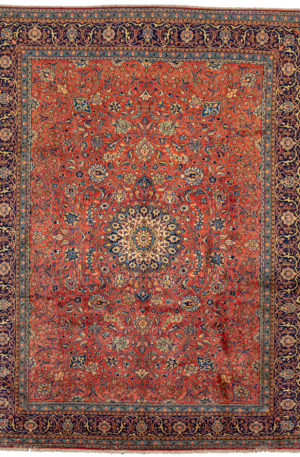 Persian Sarouk 9X12 Red Blue Wool Area Rug