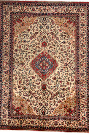 Persian Sarouk 9X12 Ivory Ivory Wool Area Rug