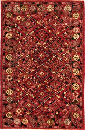 Afghan 6X9 Red Wool Area Rug
