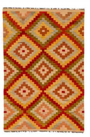 Afghan Flatweave 4X6 Multi Wool Area Rug