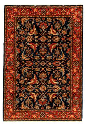 Afghan 4X6 Blue Red Wool Area Rug
