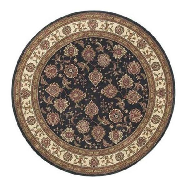 5X8 Black Ivory Synthetic Area Rug