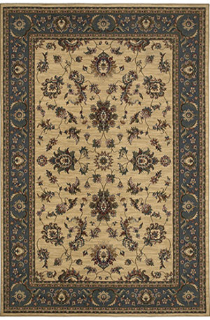 Machine Made Traditional 4X6 Ivory Blue Synthetic Area Rug