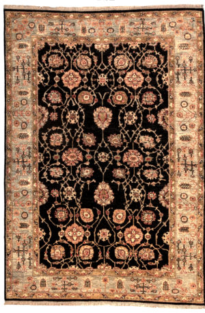 Pakistan Chobi 6X9 Black Wool Area Rug