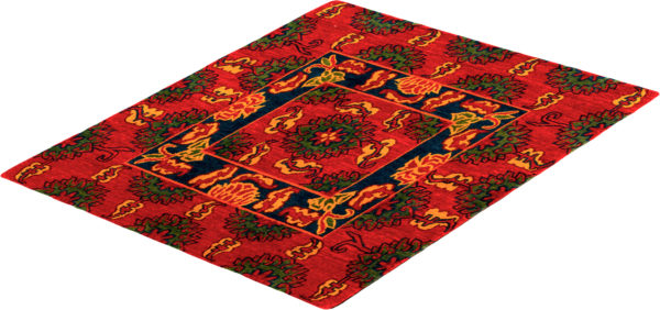 Nepal Tibetan 3X3 Red Wool Area Rug