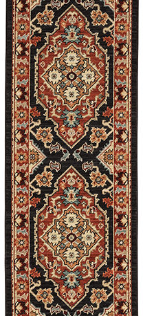Kemereh Collection Runner Black Tribal Area Rug