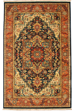 Maharajah 6X9 Blue and Red Wool Area Rug