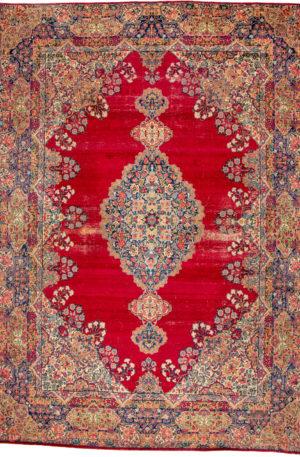Persian Kerman 9X12 Red Wool Area Rug