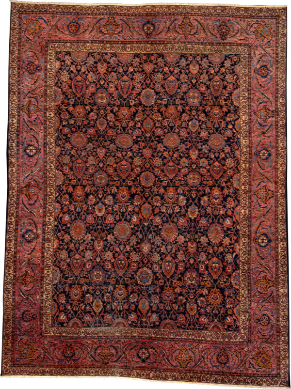 Antique Persian Malayar 10X14 Blue Wool Area Rug