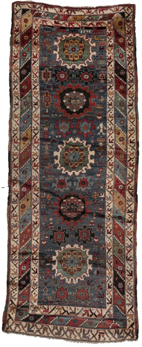 Antique Caucaus 4X6 Blue Multi Wool Area Rug