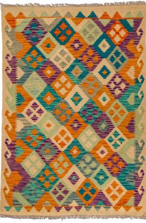 Flatweave 4X6 Multi Color Wool Area Rug