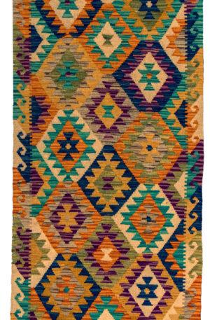 Flatweave Runner Multi Color Wool Area Rug